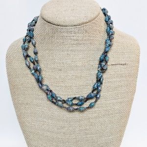 Vintage Hand Painted Beaded 3 Strand Necklace